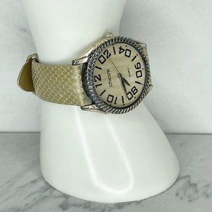 Chico's Snake Print Genuine Leather Band Watch Needs Battery